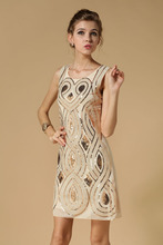 Europe Delicate Embroidery Bright Flower Sleeveless Sequined Dress KR3009