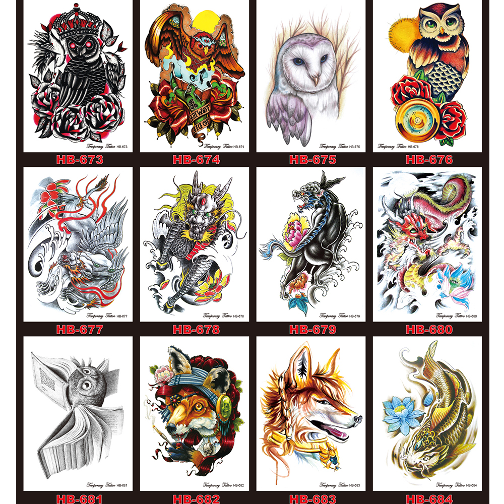 For Sale 12 Pcs Lot Colorful Drawing Waterproof Temporary Tattoo