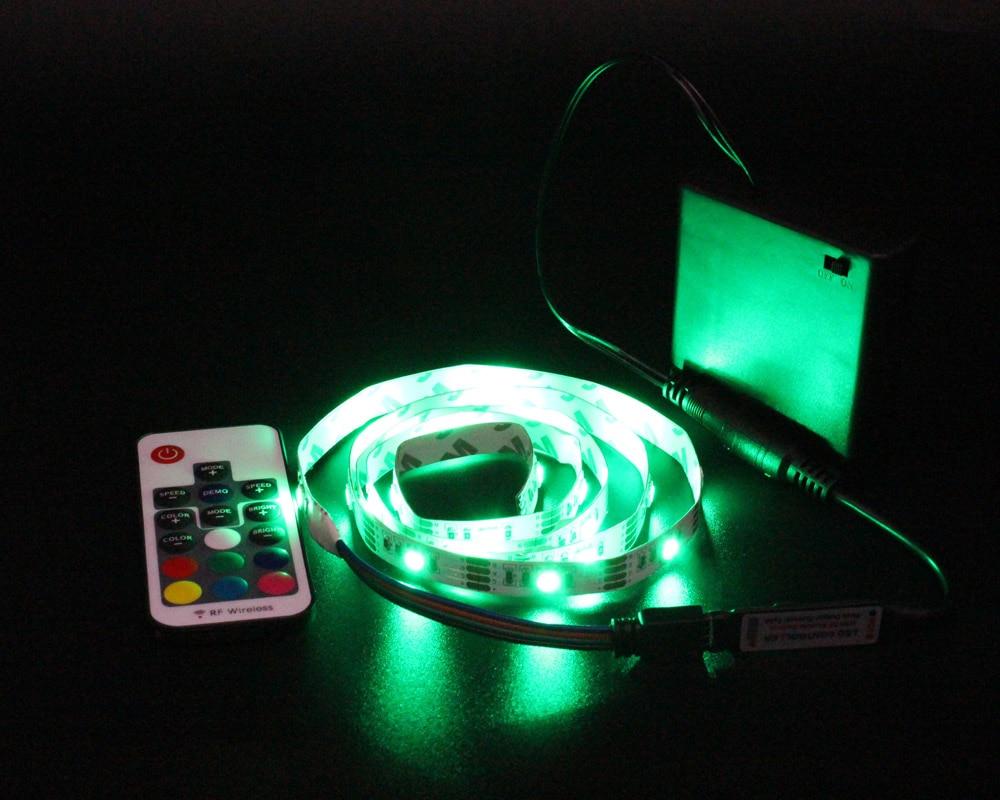 HTB1LoikX2jsK1Rjy1Xaq6zispXaj Ribbon RGB LED Strip Battery Operated SMD 5050 Tape Lights Waterproof IR RF Remote Control 4AA Battery Powered Fita LED Stripe