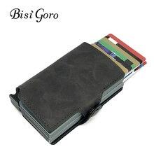 BISI GORO 2019 Men And Women 2 Metal Credit Card Holder Aluminium RFID Blocking PU Wallet Hasp Mini Vintage Wallet Hold 14 Cards