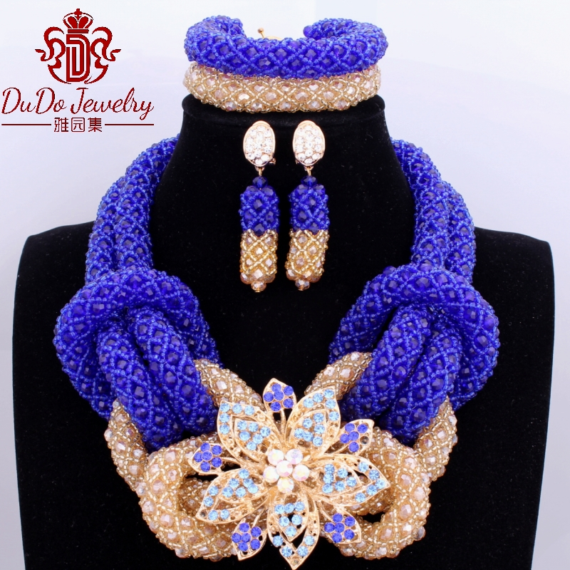 Fashion African Wedding Custom Necklace Jewelry Set Animal Owl Blue and Gold High Quality Jewelry Set Free Shipping Fashion African Wedding Custom Necklace Jewelry Set Animal Owl Blue and Gold High Quality Jewelry Set Free Shipping