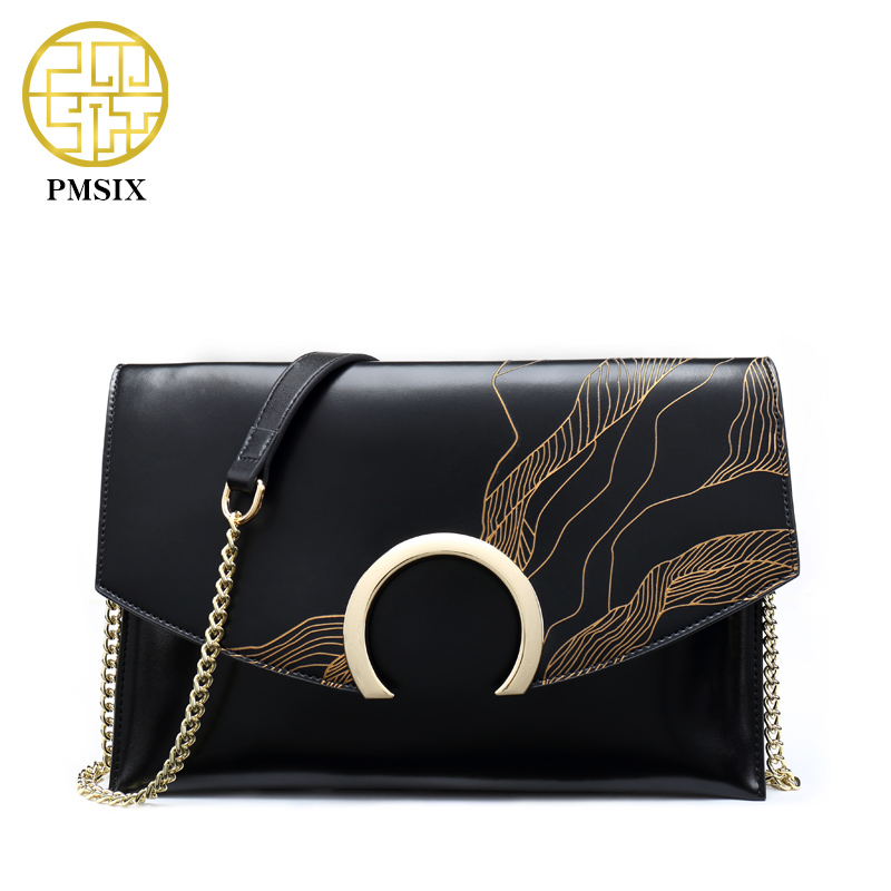 PMSIX Autumn Winter Embossed Vintage Leather Shoulder Bag Small Crossbody Bag For Women Fashion Ladies Classic Flap Bag P520022 pmsix embossed top layer genuine leather handbag fashion chain women shoulder bag small crossbody messenger bags ladies p510001