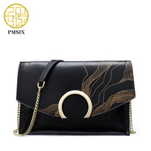 PMSIX Autumn Winter Embossed Vintage Leather Shoulder Bag Small Crossbody Bag For Women Fashion Ladies Classic Flap Bag P520022