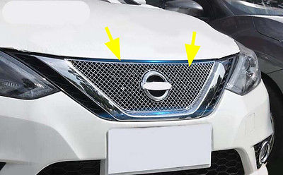 Steel Front Center Around Grilles Cover Trim for Nissan Sentra Sylphy 1PC 2016 high quality stainless steel 20pcs full window b pillar frame trim cover for nissan sentra sylphy 2012 2013