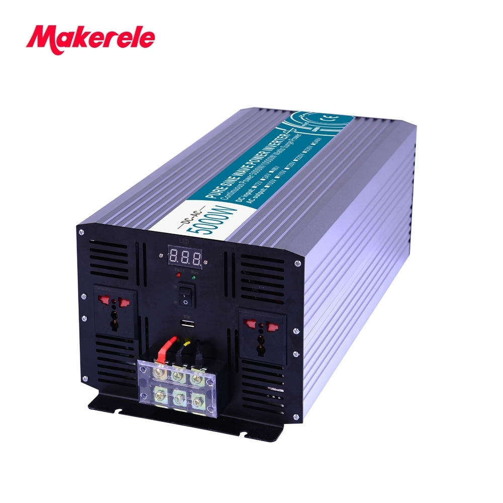 цена на Off Grid Pure Sine Wave Power Inverter 5000W 12V/24V/48VAC to 110V/220VDC Converter Solar Inverter Power Supply