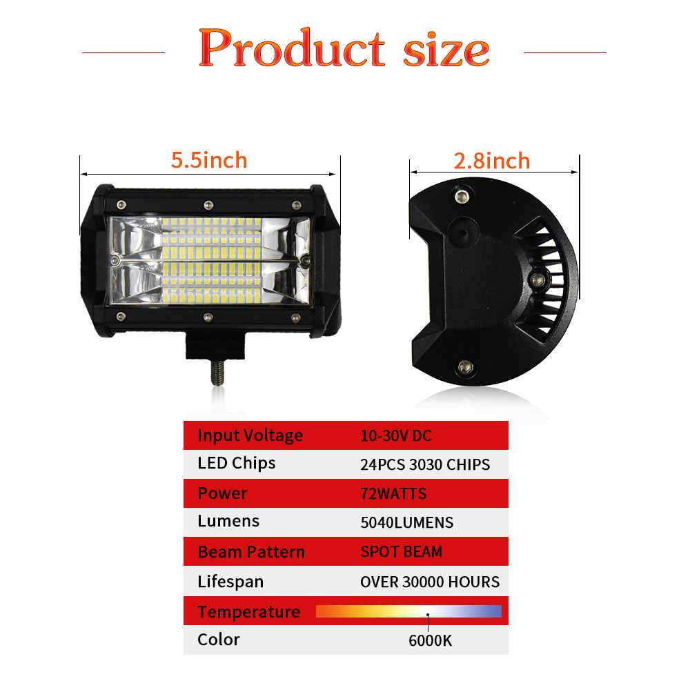 1 пара 5 дюймов рабочий свет бар пятно 72 Вт 144 Вт 12 В 24 в IP68 6000 К для ATV SUV KAMAZ газ ATV мини автобус джип светодиодный свет бар Автомобиль Стайлинг
