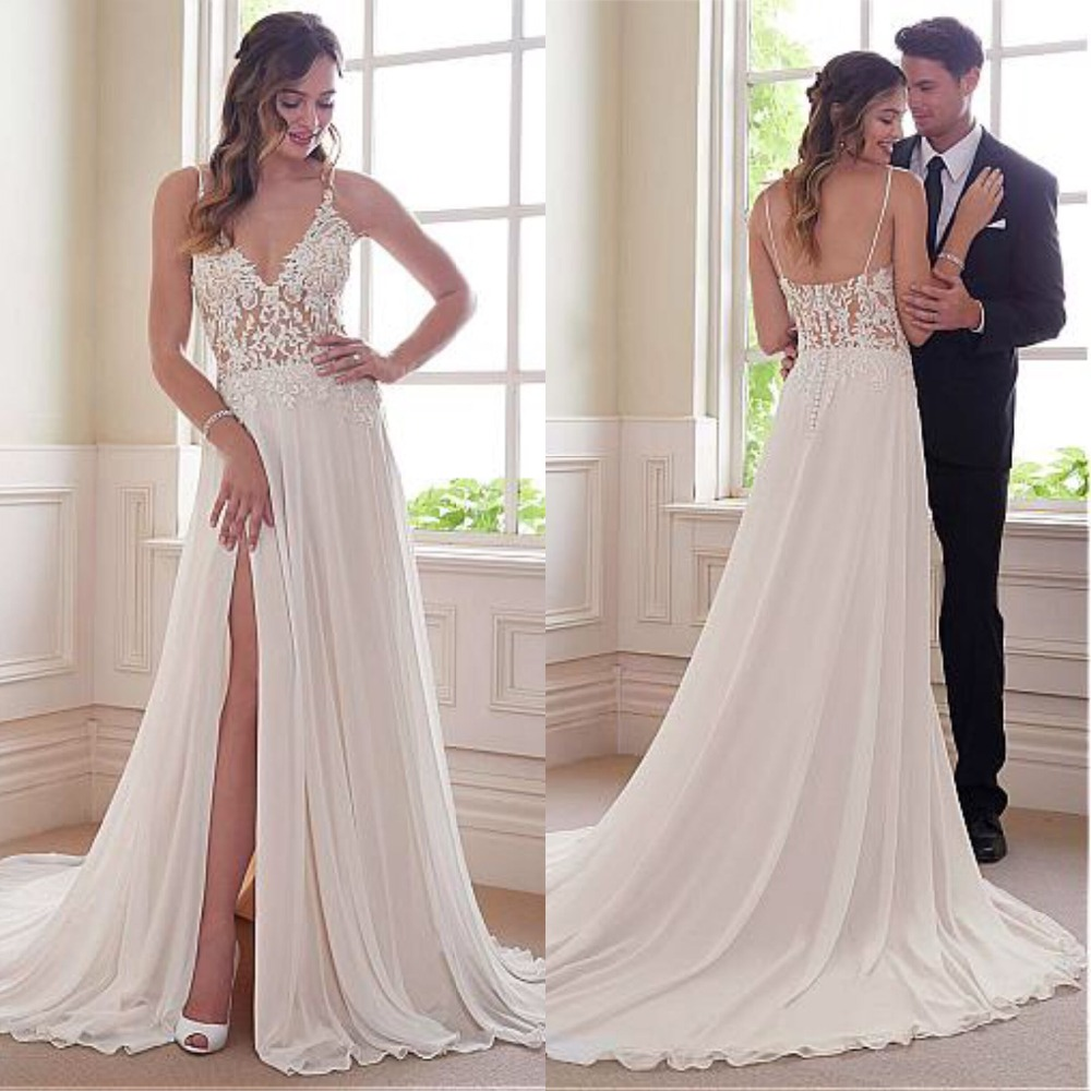 Delicate Tulle Chiffon Spaghetti Straps Neckline A line Wedding Dresses With Beaded Lace Appliques Slit Bridal