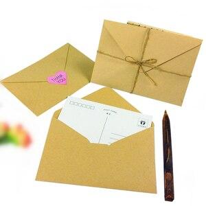 Image 3 - 100 pçs/lote novo vintage diy multifuncional papel kraft envelope 16*11cm presente cartão envelopes para festa de aniversário casamento