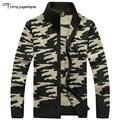 Brand Clothing Cardigan Men Fleece Winter Sweater Men Pattern Print Coat Military Army XXXL