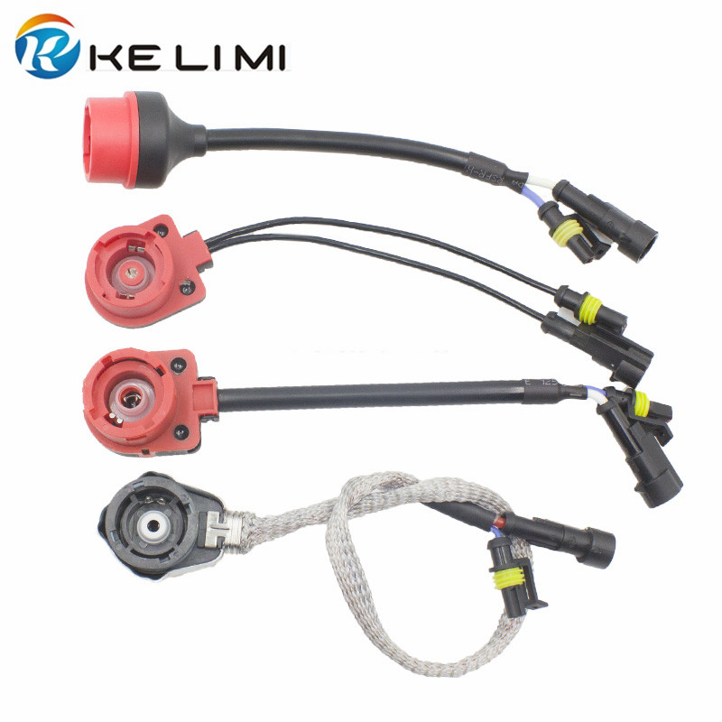 KELIMI Metal D2S D2R D2C D2 Fixed Socket to AMP Plug Connector HID Conversion Lamp Holder adaptor Wiring Harness adapters