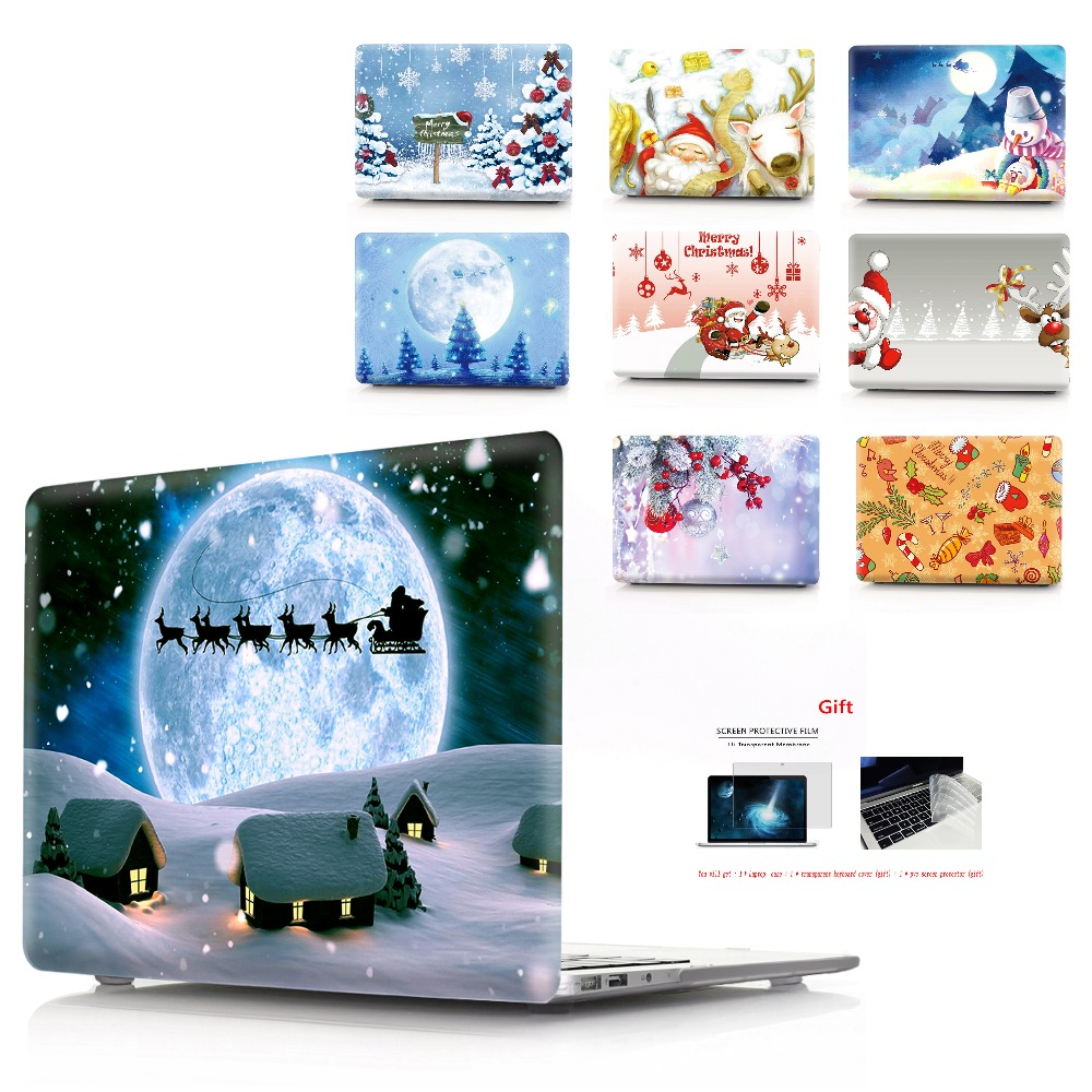 color printing Christmas notebook case for Macbook Air 11 13 Pro Retina 12 13 15 inch Colors Touch Bar New Air 13New Pro 13 15-in Laptop Bags & Cases from Computer & Office