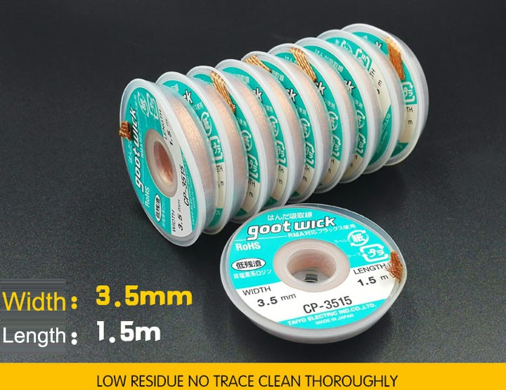 GOOT SOLDER ABSORBENT WIRE 10 PIECES SET CP-3515-10 MADE IN JAPAN 3.5mmx1.5m