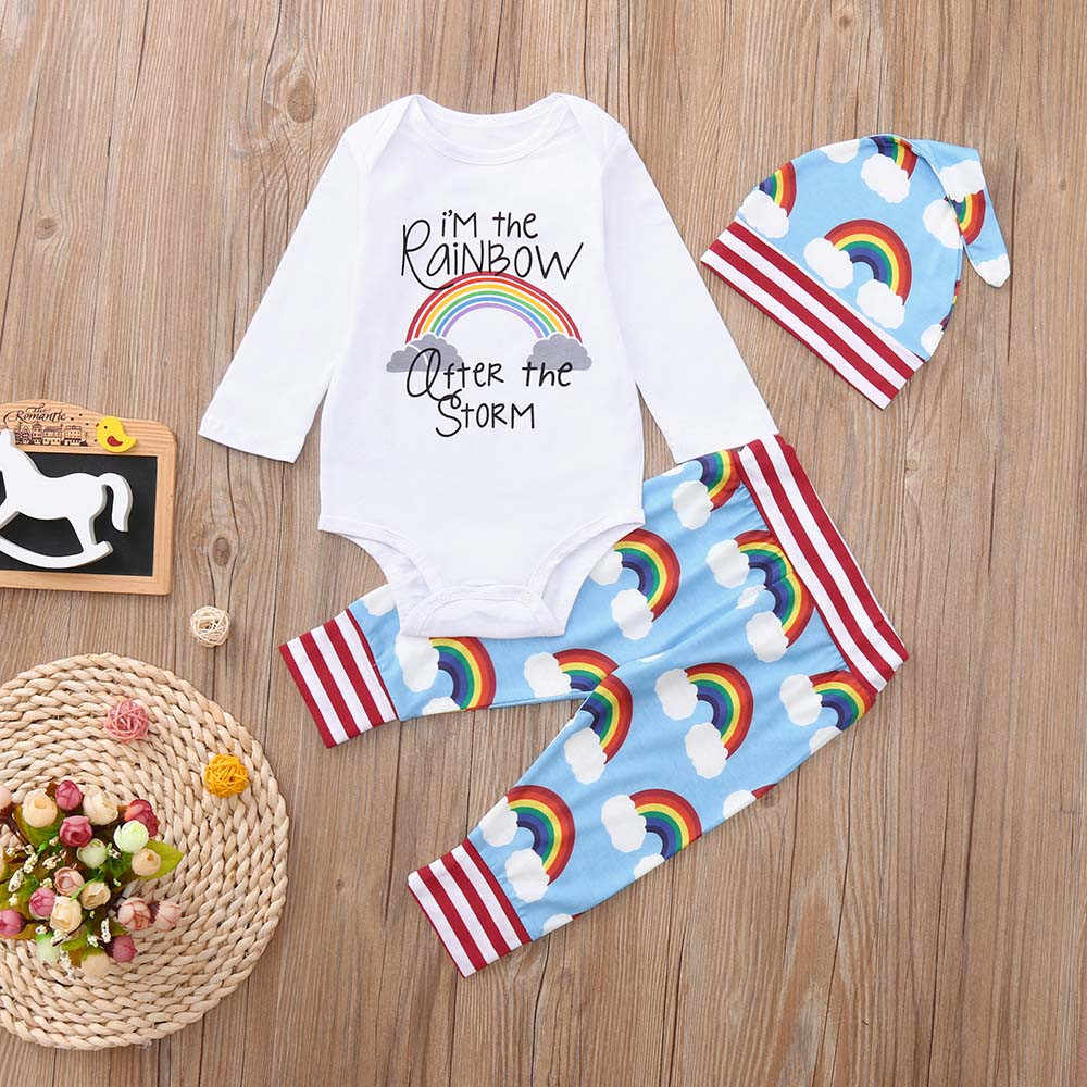 2383a4b54 ... Rainbow baby clothes set Newborn Baby Girls Boys letter Romper Jumpsuit  Bodysuit +cute cloud print ...