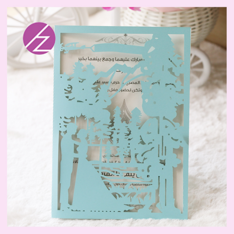 Tiffany Blue Free Shipping Wedding Invitations Christmas Party Decoration  Laser Cut Couples Design Western Style Wedding