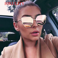 Flat Top Rose Or Hommes Femmes Miroir lunettes de Soleil De Mode Marque Designer Cool Lunettes de Soleil en gros Femelle 2017 Nouveau Rose Nuances