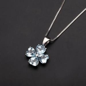 Image 4 - GEMS BALLET 3.83Ct Natural Sky Blue Topaz Gemstone Pendant 925 Sterling Silver Clover Pendant Necklace For Women Fine Jewelry