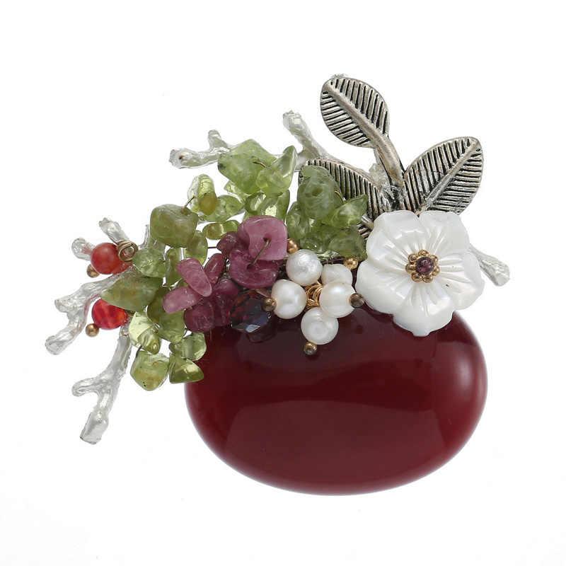 Tdqueen Batu Alam Bros untuk Wanita Perak Berlapis Logam Daun Segar Mutiara Air dan Shell Bunga Besar Burgundy Batu Bros