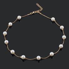Popular Beautiful Simulated 12 Pearl Beads Golden/ Silver Plating Retro Necklace Fashion Choker Necklaces for Women