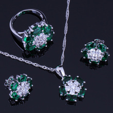 Impressive Green Cubic Zirconia White CZ 925 Sterling Silver Jewelry Sets For Women Earrings Pendant Chain Ring V0235