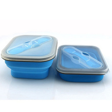 800 ml de Gran Capacidad Portátil de Silicona Lonchera Plegable Contenedor de Almacenamiento De Alimentos caja de Almuerzo Bento