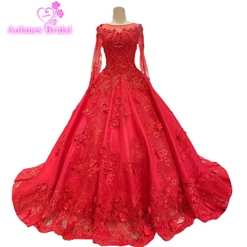 Vintage Wedding Dresses Red: AOLANES 2018 Red Tulle Long Sleeves Vintage Wedding Dress