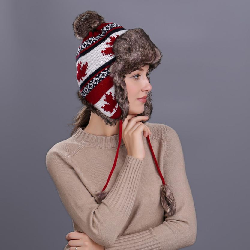 Persevering Warm Women Winter Hat With Ear Flaps Snow Ski Thick Knit Wool Beanie Cap Hat High Quality Knitting Wool About 55cm~65cm Reliable Performance