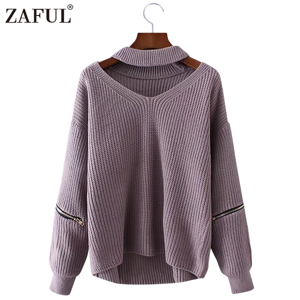 9ffeaae52c ZAFUL 2018 New Autumn Sweaters Women Pullovers V neck long sleeve zipper  Loose Knitted Pullover Jumper Casual Sweater pull femme