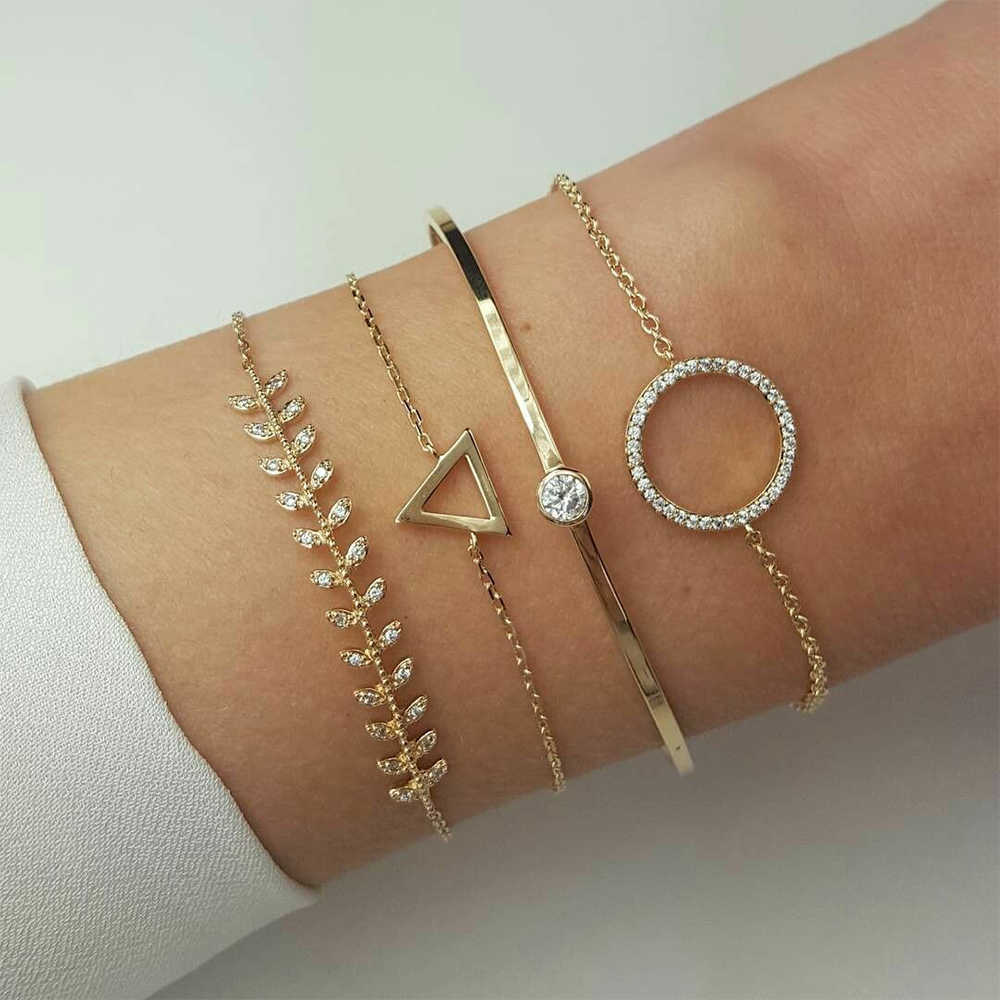 IPARAM Vintage złoty geometryczny kryształ bransoletka ze stopów zestaw dla kobiet strzałka pióra liście księżyc bransoletka w stylu boho hurtownia