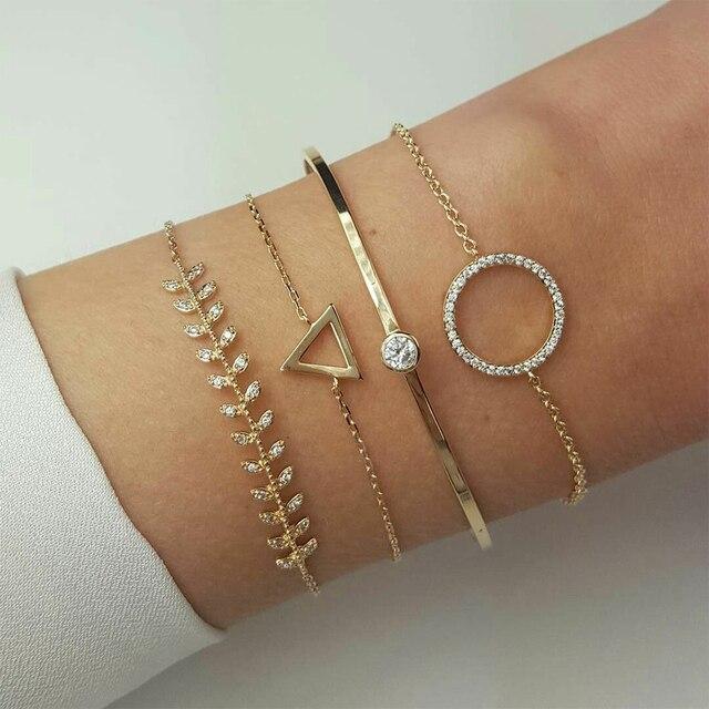 Iparam ouro do vintage geométrico cristal liga pulseira definir para as mulheres seta penas folhas lua boêmio pulseira atacado
