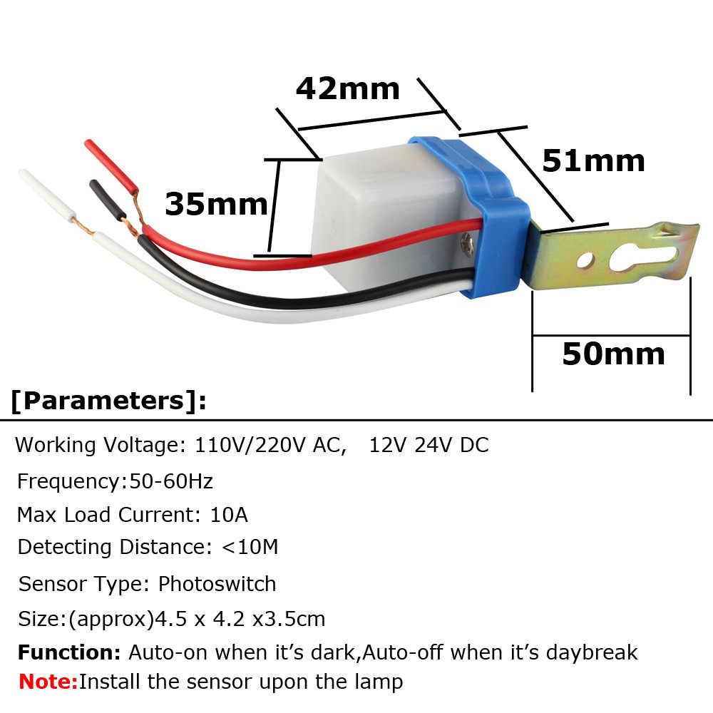 street light sensor switch 220v 110v 12v 24v ac dc 10a automatic on off photocell street  [ 1000 x 1000 Pixel ]