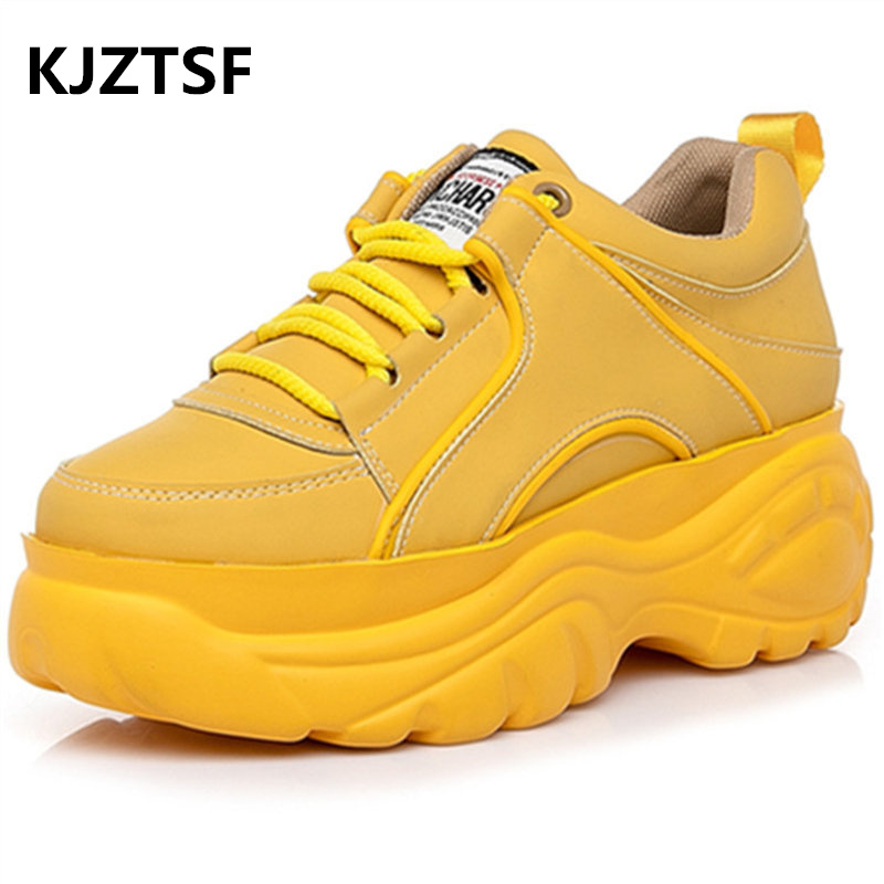 KJZTSF Women Platform white sneakers Female Leather Fashion casual shoes Vulcanize shoes women Women Breathable Running shoes in Women 39 s Pumps from Shoes