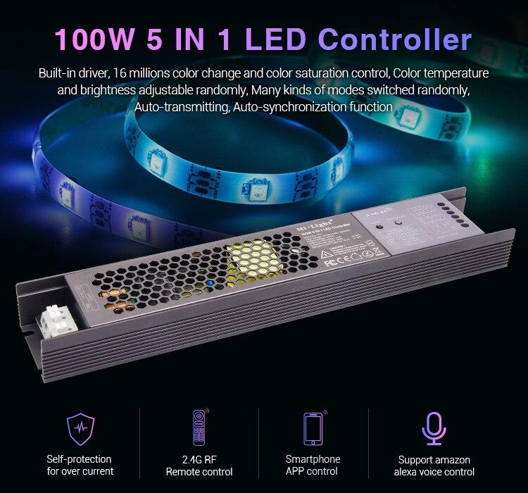MiLight 100 W 5 en 1 LED de contrôle alimentation intégrée 2.4G RF/WIFI APP/alexa commande vocale pour bande de LED 24 V RGB RGBW RGB + CCT