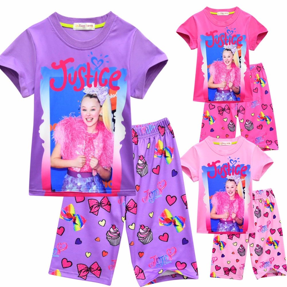 b4f4b80ca8 summer jojo siwa baby Pajamas for girls shorts t shirts + pant sport suits  Kids clothes