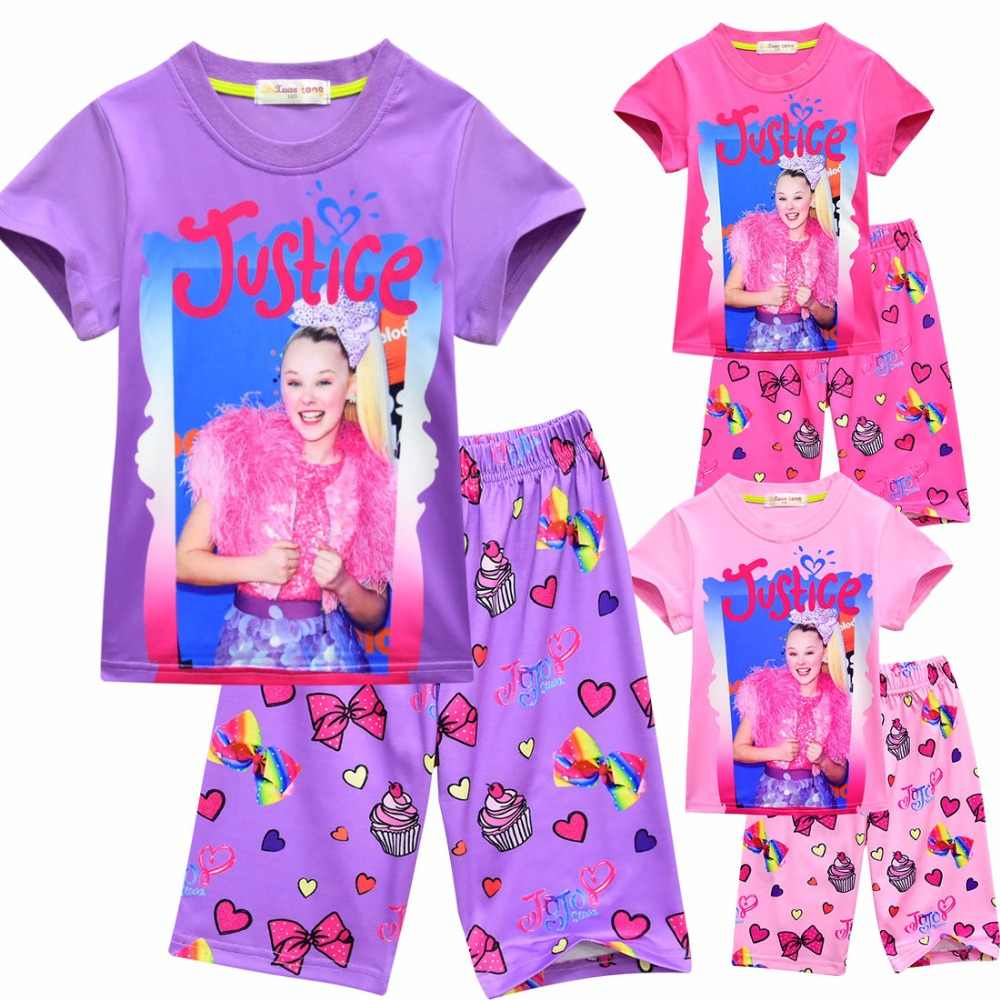 87bb11400af summer jojo siwa baby Pajamas for girls shorts t shirts + pant sport suits Kids  clothes
