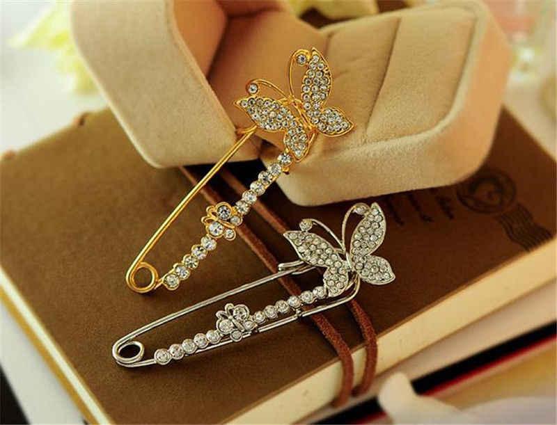 Jettingbuy 1 Pcs Wanita Perhiasan Perak Warna Emas Kupu-kupu Bros Kristal Bros Pin untuk Wanita