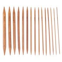 Agujas ganchos de tejer de bambú de 15cm, 75 Uds., juego de ganchillo de doble punta, suéter de aguja de bambú carbonizado, manualidades de tejido (2-10mm)