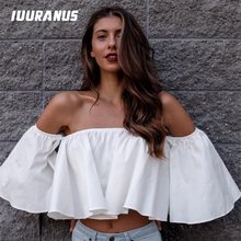 цены на IUURANUS New Stylish Spring Summer Women Ladies flare sleeve Off Shoulder Solid Tank shirts Crop Tops Cropped Pullovers Blouse  в интернет-магазинах