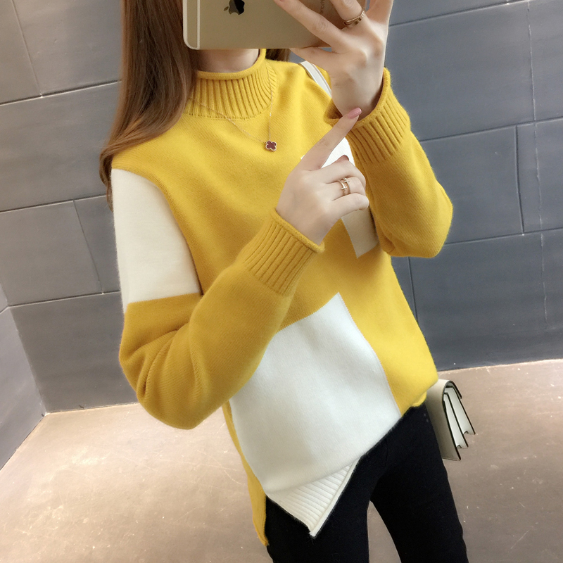 2019 Thicken Hemp sweater Women's autumn and winter new loose half-neck long sleeve short paragraph wild fashion