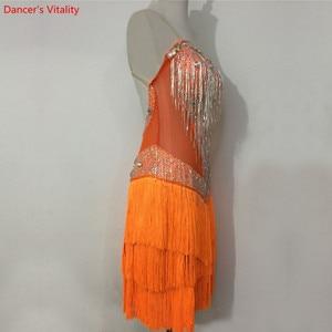 Image 2 - Custom made Latin Dance Dress Women Girls Rumba Samba Cha cha Salsa Ballroom Competition Costume Clothing Diamond Dance Dress