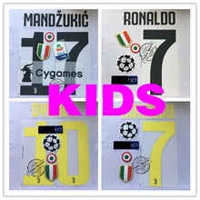KIDS 2018-19 Juventus home RONALDO 7 nameset+back sponsor RONALDO 7 adult size name and number(China)