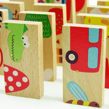 Baby Toys 28Pcs Beech Wood Animal Domino Solitaire Domino Wooden Toys Educational Blocks Baby Early Learning Toys Birthday Gift