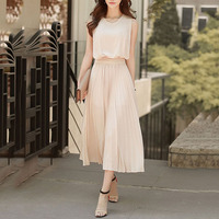 Young17 Women Elegant Dress Summer Chiffon Plain New Party Office Summer Vestido 2018 Fashion Long Dress Clothes Midi Dress