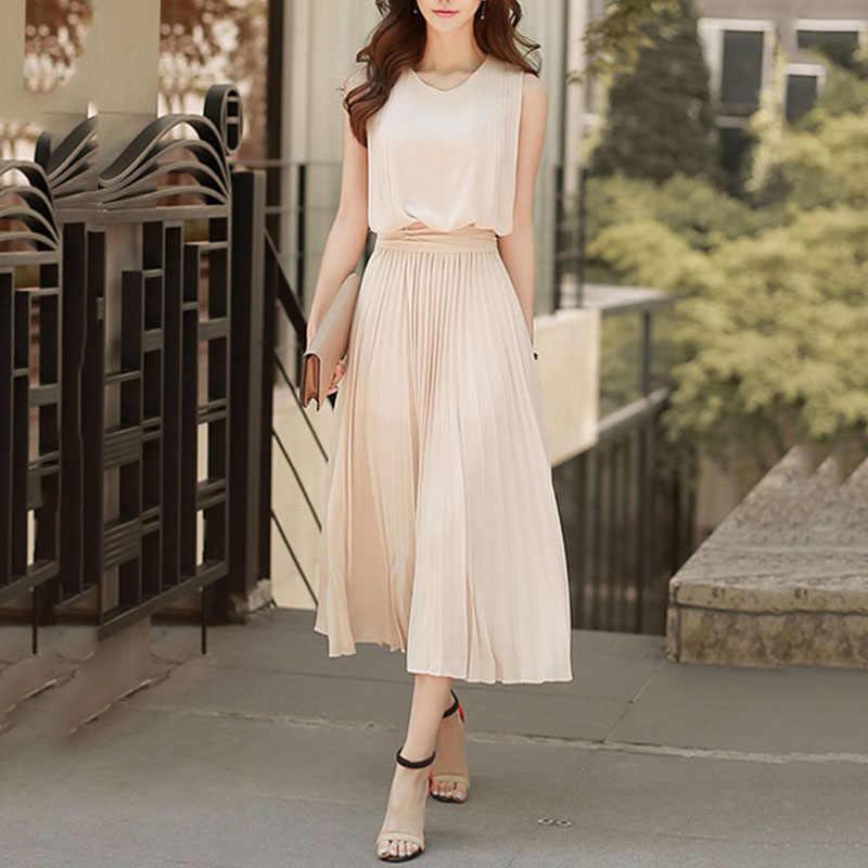Young17 Women Elegant Dress Summer Chiffon Plain New Party Office Summer Vestido 2019 Fashion Long Dress Clothes Midi Dress