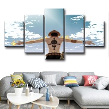 5 Piece Anime Portgas D. Ace ONE PIECE Canvas Posters Painting Wall Pictures Modern Decorative Prints For Living Room Home Decor недорого