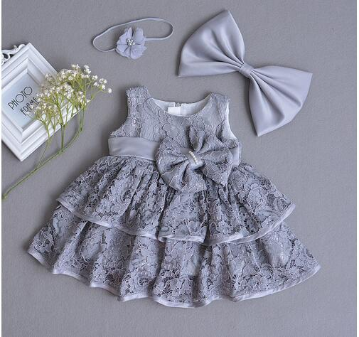 Baby Girls Pageant Formal Dresses 2017 Baptism Bow Lace Cute Infant Girls Princess tutu Dress Kids Birthday Party Dresses Grey baby girls pageant formal dresses 2017 baptism bow lace cute infant girls princess tutu dress kids birthday party dresses pink