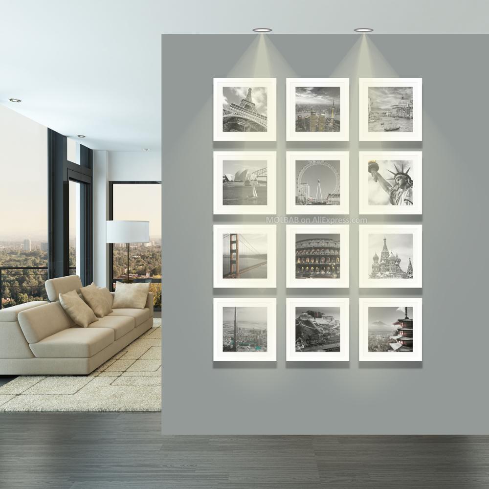 US $159.0 |MOLBAB Quadrato In Legno Photo Frame Da Parete 12 pz Set Moderno  Bianco Cornici In Legno di Arte Del Corridoio fotolijst Complementi Arredo  ...