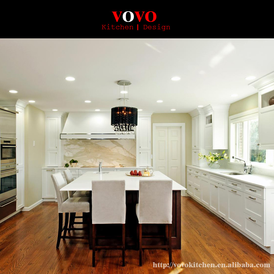 Solid Wood Kitchen Cabinet With Natural Quartz Stone