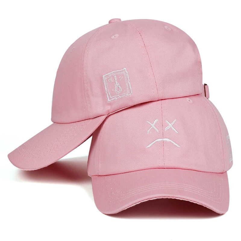 d9d3f3774e4 ... Lil Peep Sad face Dad Hat Embroidery 100% Cotton Baseball Cap Hat  xxxtentacion Hip Hop