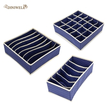 3pcs/set Non-woven Drawer Organizer Foldable Underwear Storage Box Drawer Divider For Bra Ties Socks Belts Closet Organization