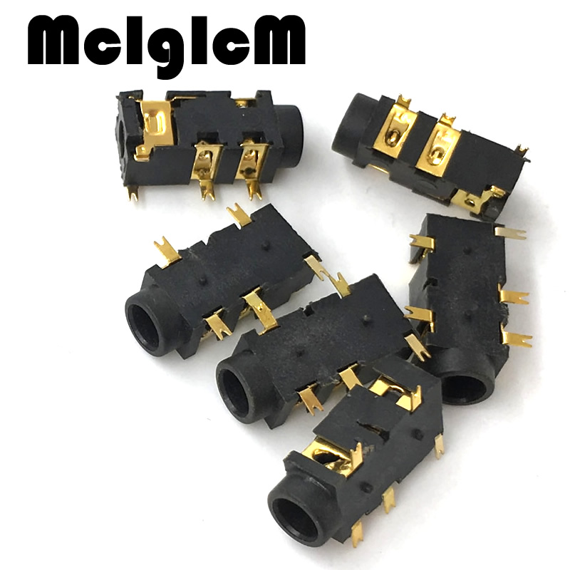 20pcs/lot gold-plated phone Jack Diameter 3.5mm 5 pin audio socket for 3 poles earphone plug SMD type Free shipping